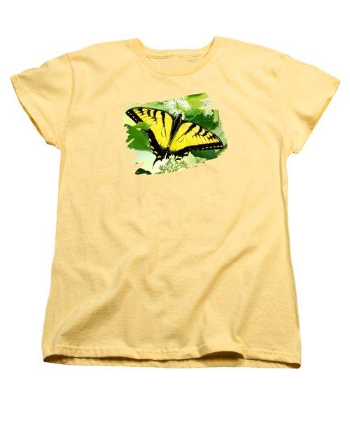 Swallowtail Butterfly Feeding On Flowers Women's T-Shirt (Standard Cut)