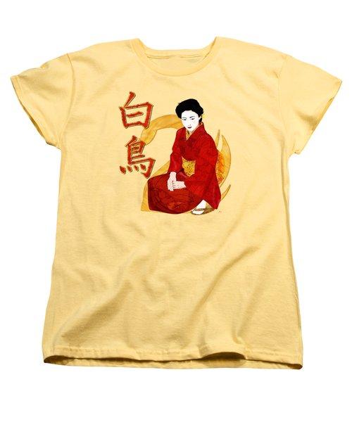 Swan Japanese Geisha Women's T-Shirt (Standard Cut) by Sharon and Renee Lozen