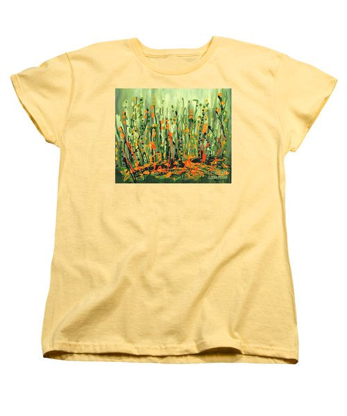 Women's T-Shirt (Standard Cut) featuring the painting Sweet Jammin' Peas by Holly Carmichael