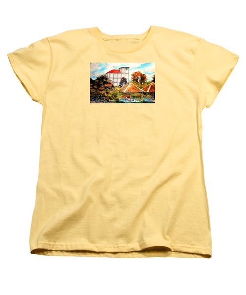 Women's T-Shirt (Standard Cut) featuring the painting Swifts  Nest's Building by Jason Sentuf