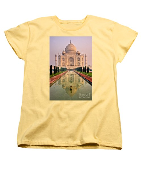 Taj Mahal At Sunrise Women's T-Shirt (Standard Cut) by Luciano Mortula