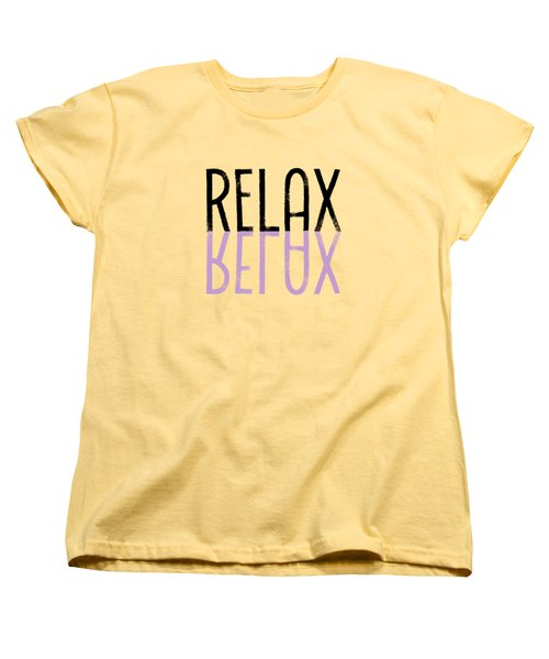 Text Art Relax - Purple Women's T-Shirt (Standard Cut) by Melanie Viola