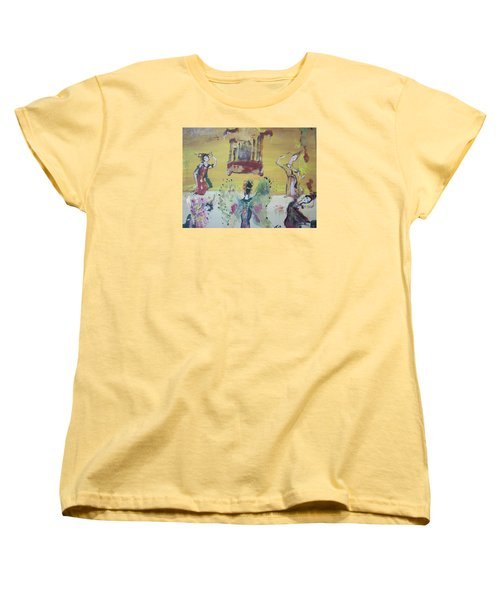 Women's T-Shirt (Standard Cut) featuring the painting Thai Butterfly Dance by Judith Desrosiers