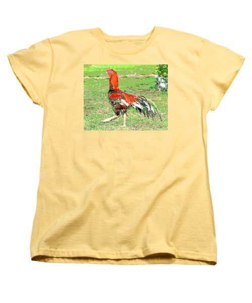 Thai Fighting Rooster Women's T-Shirt (Standard Cut) by Charles Shoup
