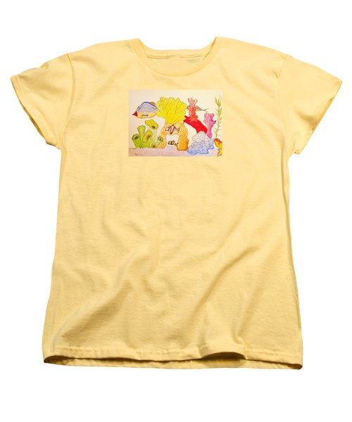 Women's T-Shirt (Standard Cut) featuring the painting The Age Of Aquarium by Rand Swift