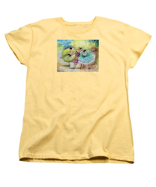 Women's T-Shirt (Standard Cut) featuring the painting The Ballerina Dancers by Elizabeth Robinette Tyndall