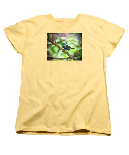 Women's T-Shirt (Standard Cut) featuring the painting The Blue Necked Tanager by Judy Kay