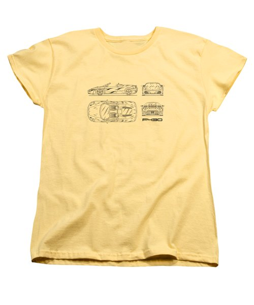 The F430 Blueprint - White Women's T-Shirt (Standard Cut) by Mark Rogan