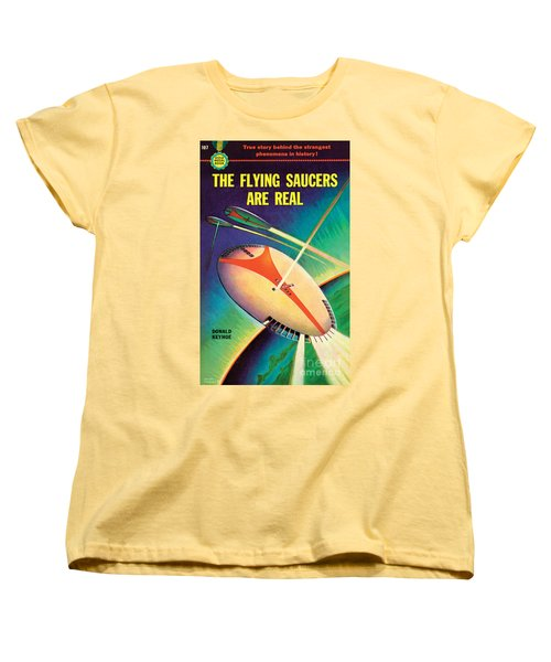 Women's T-Shirt (Standard Cut) featuring the painting The Flying Saucers Are Real by Frank Tinsley
