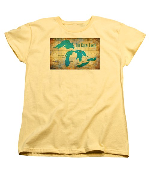 The Great Lakes Women's T-Shirt (Standard Cut) by Greg Sharpe