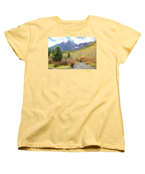 Women's T-Shirt (Standard Cut) featuring the photograph The Maroon Bells Reimagined 3 by Eric Glaser