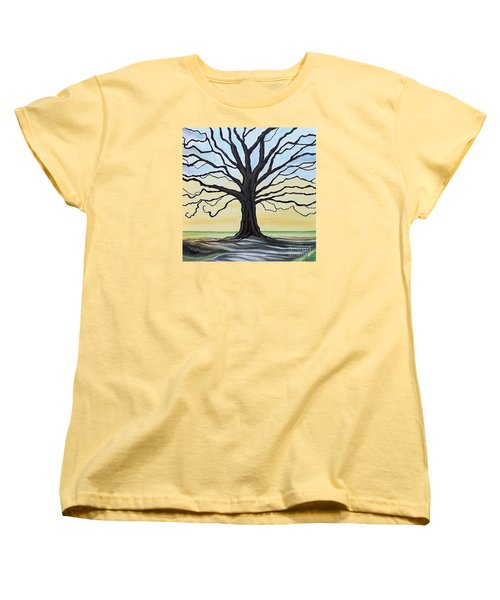 Women's T-Shirt (Standard Cut) featuring the painting The Stained Old Oak Tree by Elizabeth Robinette Tyndall