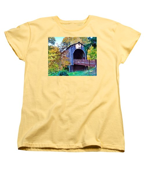 The Pass Creek Covered Brkidge Women's T-Shirt (Standard Cut) by Ansel Price