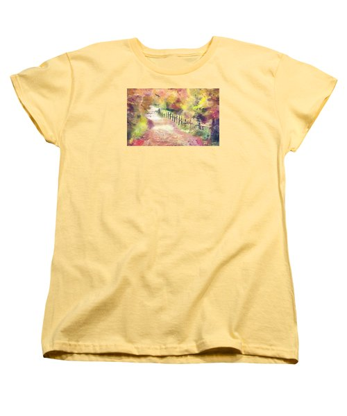 Women's T-Shirt (Standard Cut) featuring the painting The Path In Autumn by Wayne Pascall