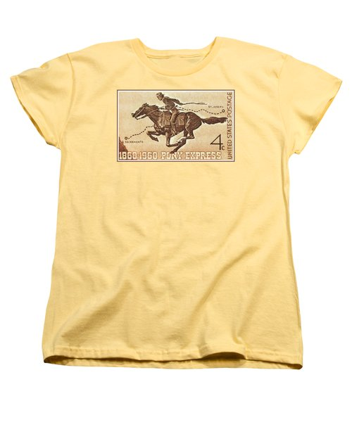 The Pony Express Centennial Stamp Women's T-Shirt (Standard Cut) by Lanjee Chee