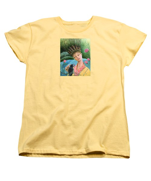 Women's T-Shirt (Standard Cut) featuring the painting The Princess And The Crow by Terry Webb Harshman