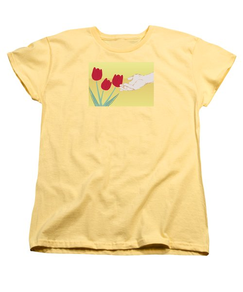 Women's T-Shirt (Standard Cut) featuring the digital art The Tulips by Milena Ilieva