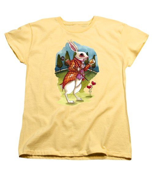 The White Rabbit Is Late Women's T-Shirt (Standard Cut) by Lucia Stewart