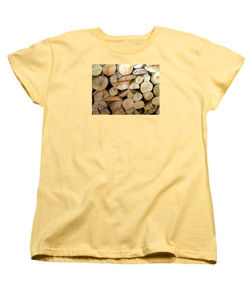 Women's T-Shirt (Standard Cut) featuring the painting The Woodpile by Carol Grimes