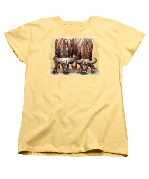 Women's T-Shirt (Standard Cut) featuring the painting Thirsty Buffalo  by Margaret Stockdale