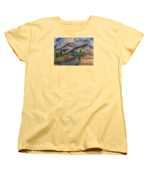 Women's T-Shirt (Standard Cut) featuring the painting Thoughts Of Glacier by Annette Berglund