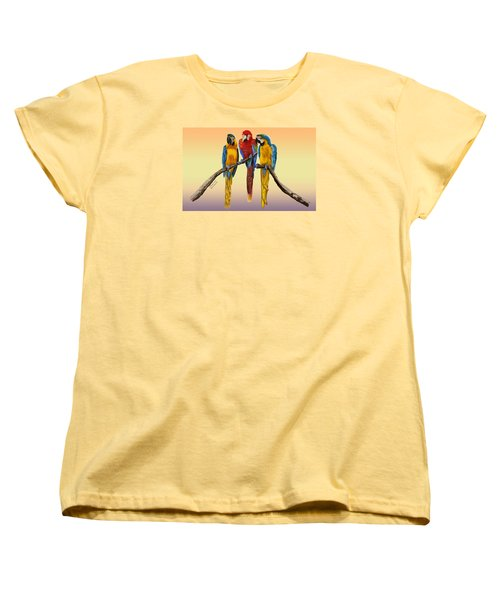 Three Macaws Hanging Out Women's T-Shirt (Standard Cut) by Thomas J Herring