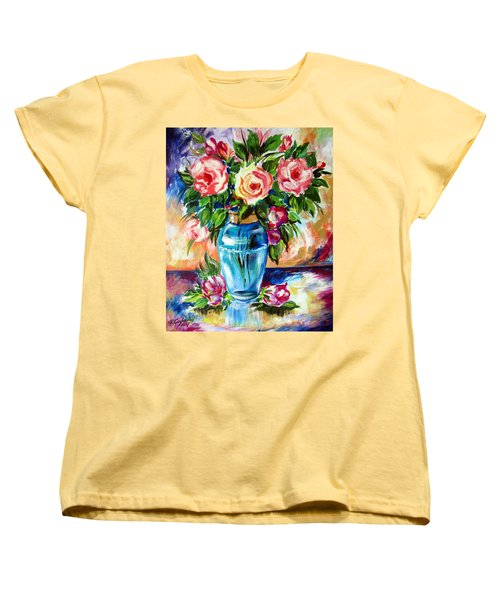 Women's T-Shirt (Standard Cut) featuring the painting Three Roses In A Glass Vase by Roberto Gagliardi
