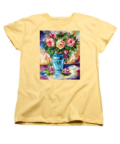 Three Roses In A Glass Vase Women's T-Shirt (Standard Cut) by Roberto Gagliardi