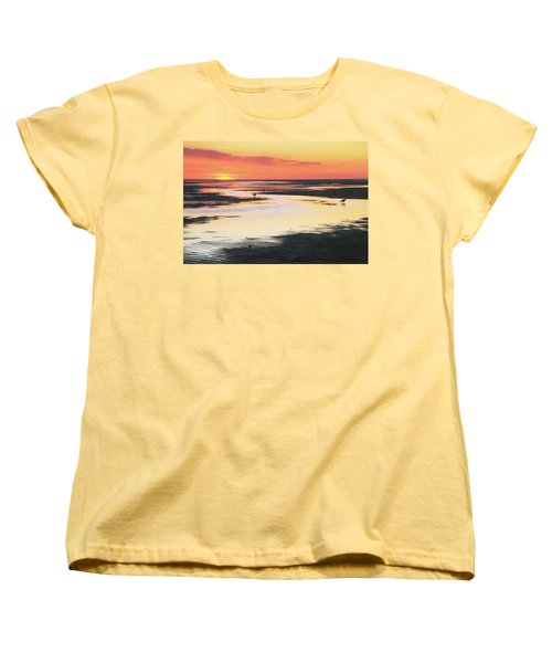 Tidal Flats At Sunset Women's T-Shirt (Standard Cut) by Roupen  Baker