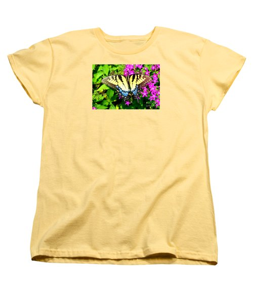 Women's T-Shirt (Standard Cut) featuring the photograph Tiger Swallowtail by Lew Davis