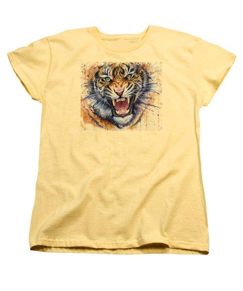 Tiger Watercolor Portrait Women's T-Shirt (Standard Cut) by Olga Shvartsur