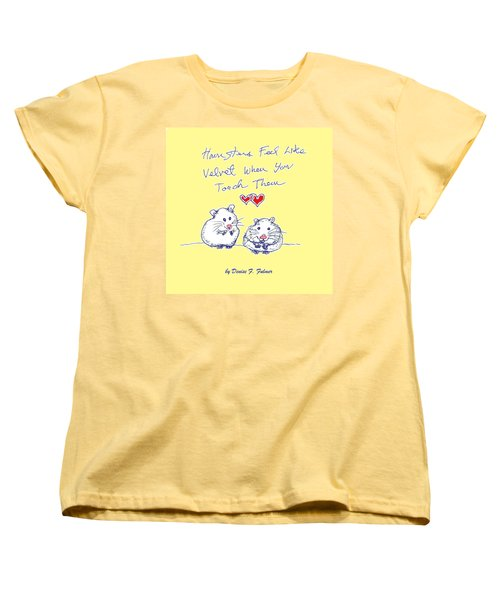 Women's T-Shirt (Standard Cut) featuring the drawing Title Page For Hamster Book by Denise Fulmer