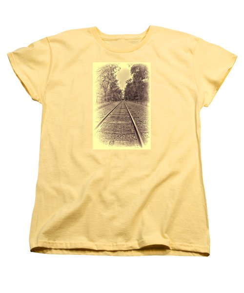 Women's T-Shirt (Standard Cut) featuring the digital art Tracks Through The Park by Dennis Lundell