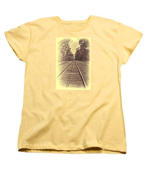 Tracks Through The Park Women's T-Shirt (Standard Cut) by Dennis Lundell