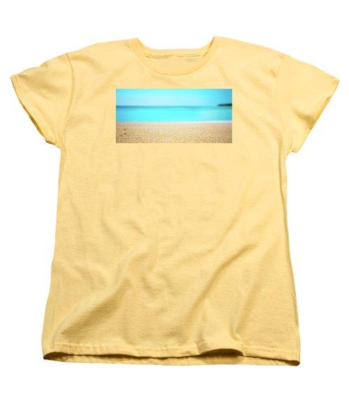 Tropical Art - Turquoise Sand Beach Lagoon Photography Women's T-Shirt (Standard Cut) by Modern Art Prints