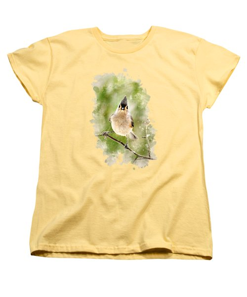 Tufted Titmouse - Watercolor Art Women's T-Shirt (Standard Cut) by Christina Rollo