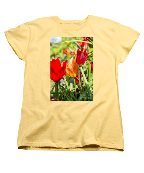 Women's T-Shirt (Standard Cut) featuring the photograph Tulip - The Orange One 02 by Arik Baltinester