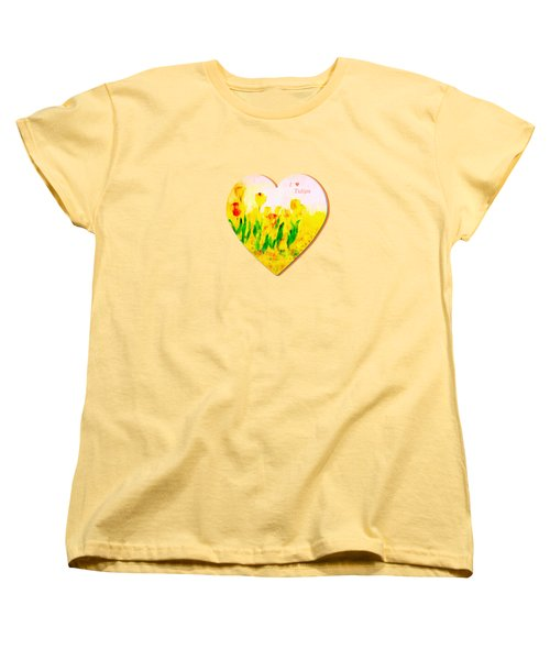 Tulips In Springtime-floral Painting By V.kelly Women's T-Shirt (Standard Cut) by Valerie Anne Kelly