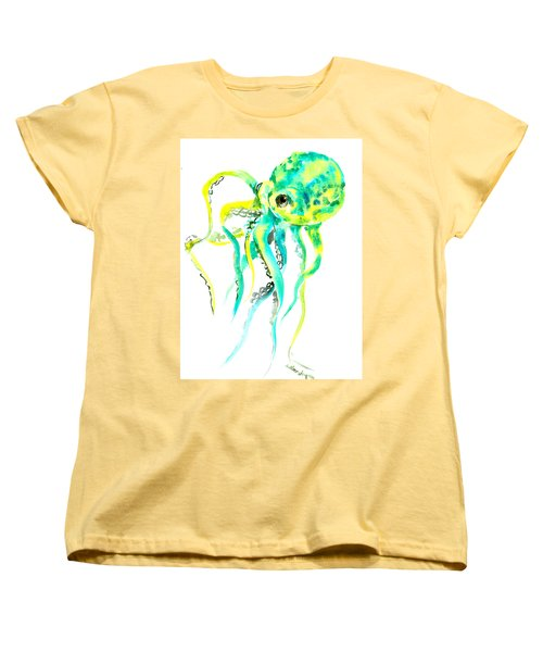 Turquoise Green Octopus Women's T-Shirt (Standard Cut) by Suren Nersisyan