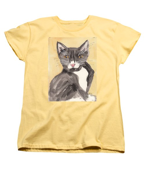 Women's T-Shirt (Standard Cut) featuring the painting Tuxedo Cat With Attitude by Terry Taylor