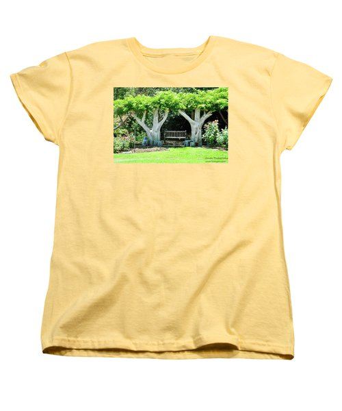 Two Tall Trees, Paradise, Romantic Spot Women's T-Shirt (Standard Cut) by Gandz Photography