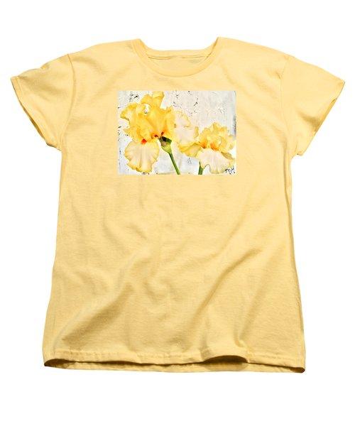 Two Yellow Irises Women's T-Shirt (Standard Cut) by Marsha Heiken