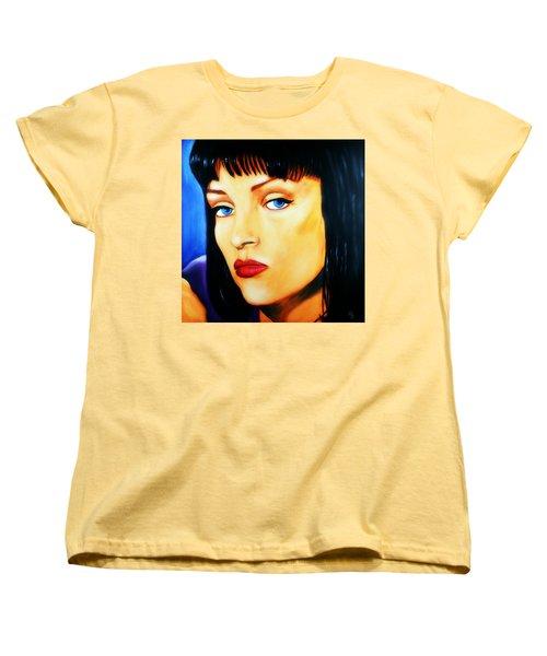Women's T-Shirt (Standard Cut) featuring the painting Uma Thurman In Pulp Fiction by Bob Baker