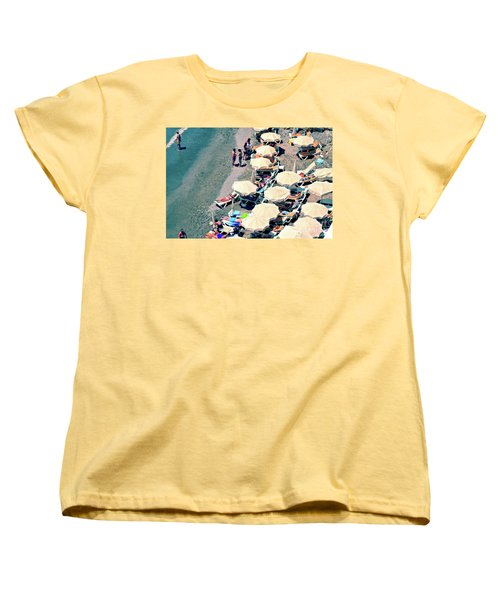 Women's T-Shirt (Standard Cut) featuring the photograph Umbrellas On The Beach - Nerja by Mary Machare