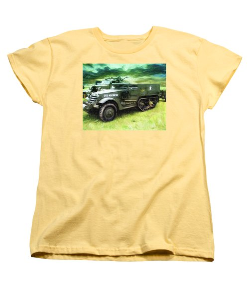 Women's T-Shirt (Standard Cut) featuring the painting U.s. Army Halftrack by Michael Cleere