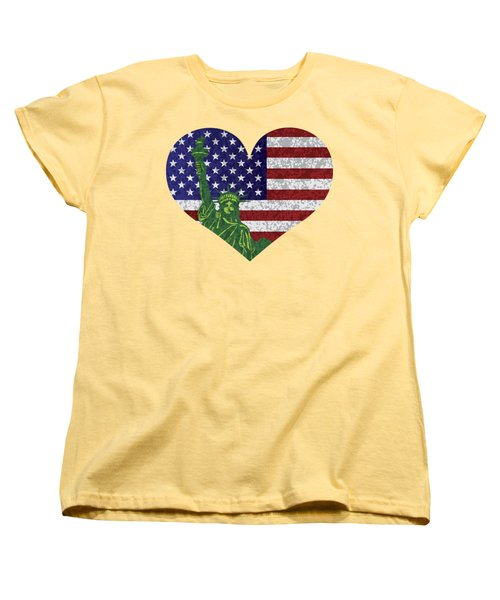 Usa Heart Flag And Statue Of Liberty Women's T-Shirt (Standard Cut) by Jit Lim