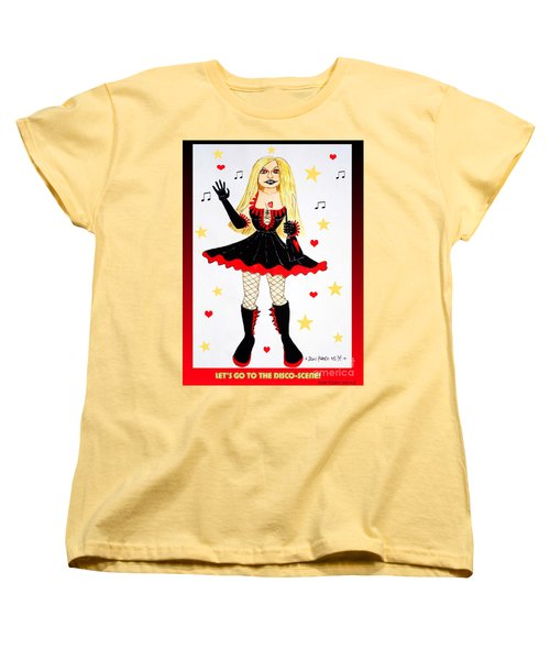 Women's T-Shirt (Standard Cut) featuring the painting Vannieh-the Disco-queen Of The Nineties by Don Pedro De Gracia
