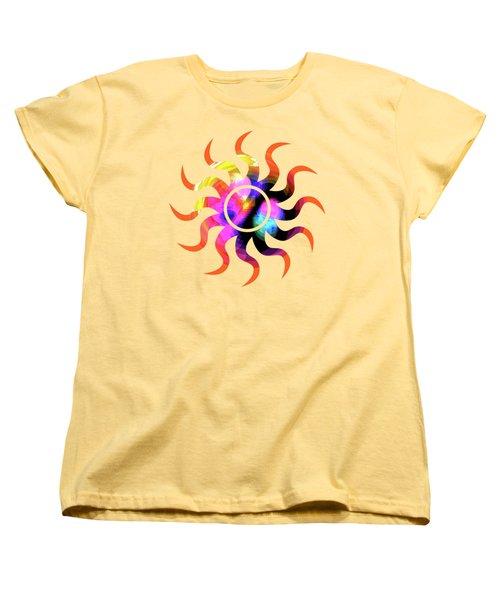 Vibrant Circle On Orange Women's T-Shirt (Standard Cut) by Judi Suni Hall