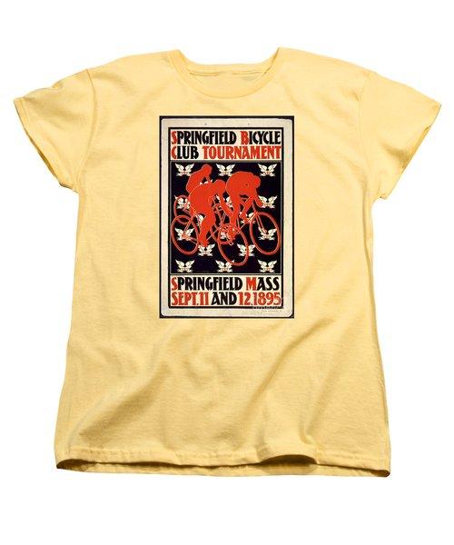 Vintage 1895 Springfield Bicycle Club Poster Women's T-Shirt (Standard Cut) by John Stephens