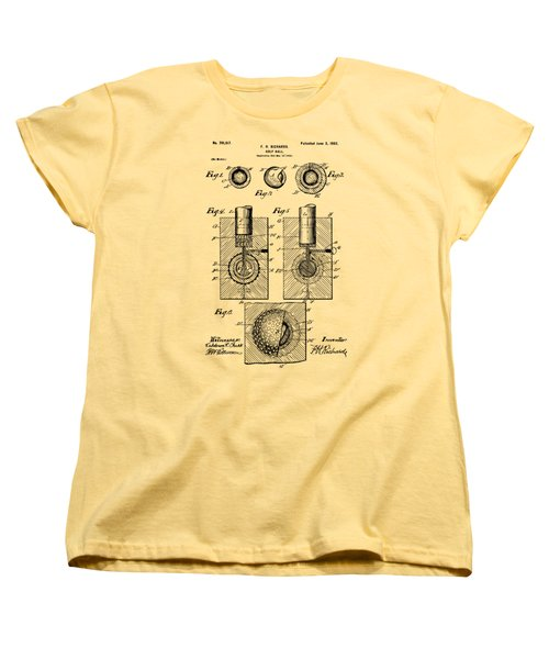 Vintage 1902 Golf Ball Patent Artwork Women's T-Shirt (Standard Cut) by Nikki Marie Smith
